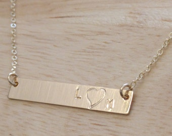 Heart Bar Necklace - Initials Heart Necklace - Personalized Gold Bar Necklace Engagement Gift Kids Initials Necklace Everyday Gold Necklace