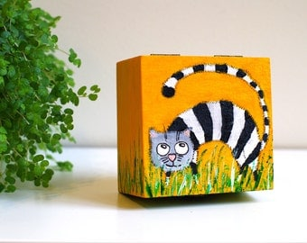 CAT JEWELRY box with cats Jewellery box Cat Trinket box Keepsake box Cat lover gift Wooden box Hand painted jewery box Treasure box
