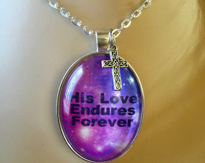 His Love Endures Forever purple and blue oval glass pendant with silver link chain necklace, Christian Gifts for Her