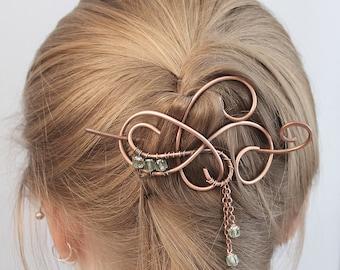 Hair Jewelry Copper Icy Mint Green Beaded Hair Pin, Hair Clip Womens, Hair Stick, Hair Slide, Hair Barrette, Hair Accessories Gift for Women