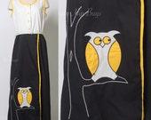 Vintage wrap dress, 60s dress, Mad men Dress, Vintage Maxi Dress, Black White Dress, owl Dress, Applique dress, 60s party dress - L/XL