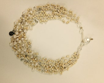 Necklace - Handmade Ceramic and Pearl Beige Necklace
