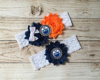 Edmonton Oilers wedding garter set NHL lace garter set