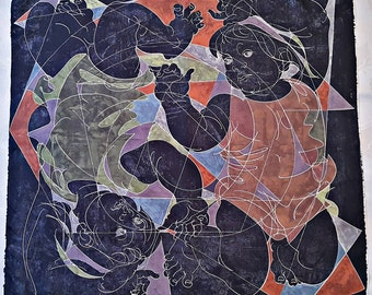 "Vintage Authentic Erni Zodiac Gemini 1979 Abstract Lithograph Blue Silk 30"" Square Scarf"