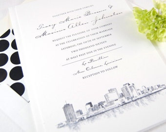 New Orleans Skyline Hand Drawn Wedding Invitations Package (Sold in Sets of 10 Invitations, RSVP Cards + Envelopes)