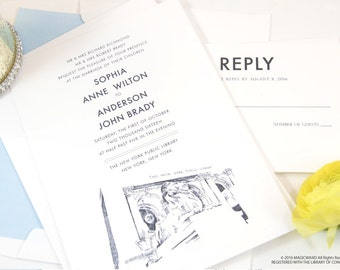 New York City Library Hand Drawn Wedding Invitations Package (Sold in Sets of 10 Invitations, RSVP Cards + Envelopes)