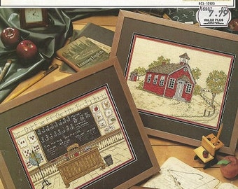 Vintage Cross Stitch Pattern Booklet - ONE ROOM SCHOOL House - c. 1992 True Colors - Designed by Michele Johnson