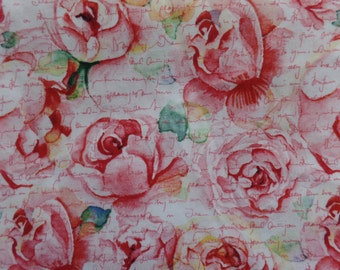 RTC Fabrics.  Pink roses with pink writing.