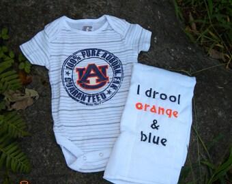 Auburn onesie and Burpcloth gift set. . . . . .FREE name embroidered on burpcloth
