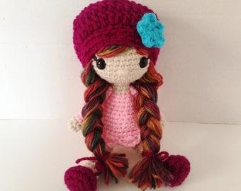 Crochet Doll / Amigurumi Stuffed Girl Doll Toy / Ruby