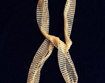 Vintage 1960's Hair Accessories, Hair Wrap, Hair Tie, Yellow