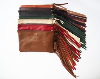 Leather Pouch Clutch Wallet w/ Tassel Edge - Women's Handbag - Women's Clutch - Women's Evening Bag - Leather Handbag - Leather Clutch