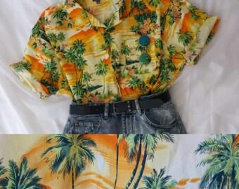 Vintage Tropical Print Indie Shirt