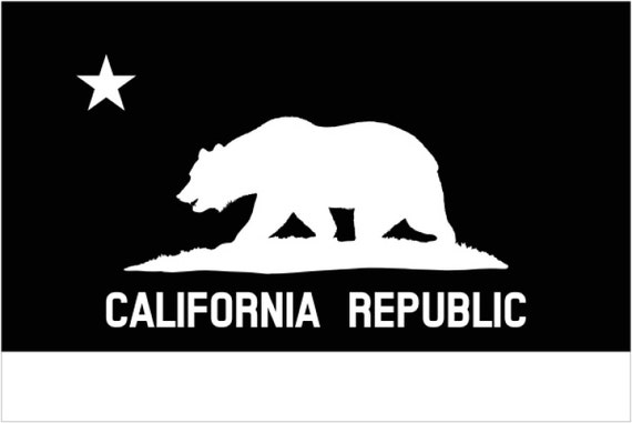 How To Transfer Car Title In Ca >> California flag decal FREE SHIPPING White vinyl decal CA