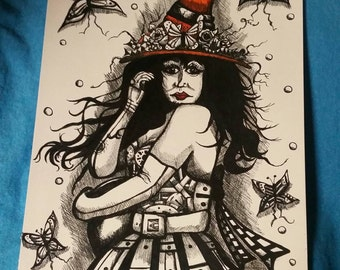 Steampunk Witch with Orange Hat Drawing
