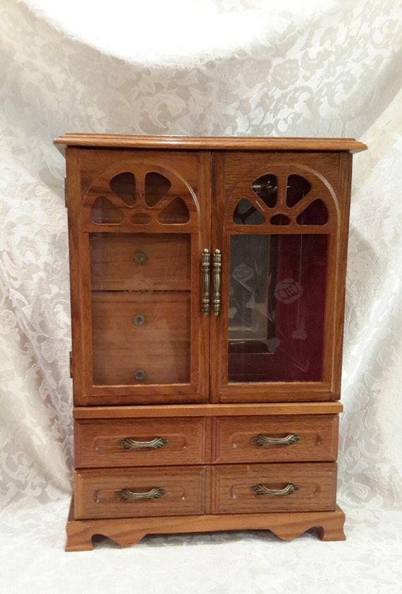 Wooden jewelry box large armoire