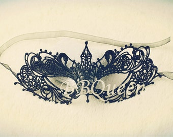 Black Lace Mask/Masquerade Ball Mask/Halloween Mask/Queen Mask/Eye Veil Costume/Prom-Party-Theater mask/Embroidery Lace Mask, Eye Mask MJ05