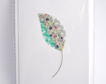Handmade Feather Washi Card - Blank