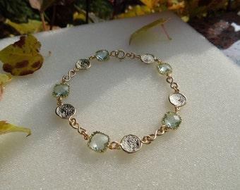 Crystal bracelet in zartgrün, 585, goldfilled, gold plated