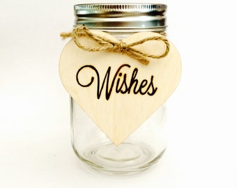 Wishes sign from wood heart - hanging wedding wishes sign