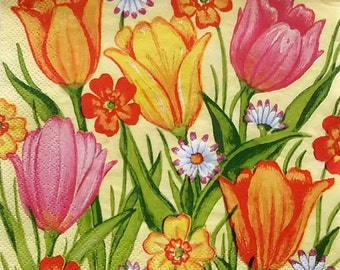 Set of 2 pcs 3-ply ''Spring flowers'' paper napkins for Decoupage or collectibles 33x33cm, Floral napkins, Servietten, Servetten, Tovaglioli