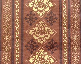Set of 2 pcs 3-ply brown pattern paper napkins for Decoupage or collectibles 33x33cm, Decopatch napkins, Servietten, Mixed media paper