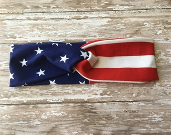 American flag turban-American headband-Red White & Blue-Adult-Turban-Fourth of July-Memorial Day-Stars and stripes-Americana
