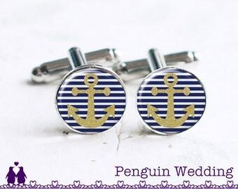 Anchor Cufflinks, Anchor Cuff Links, Nautical Cufflinks, Wedding Cufflinks, Groom Cufflinks, Groomsmen Cufflinks, Beach Wedding PC090