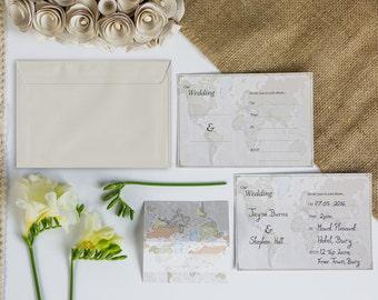 Classic World Map Wedding Invitations Pack Of Ten