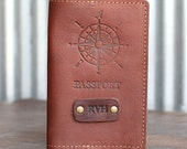 The Expedition Personalized Leather Passport Cover Holder Compass Passport Travel
