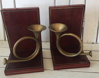 Brass French Horn Wood Book Ends made in Korea