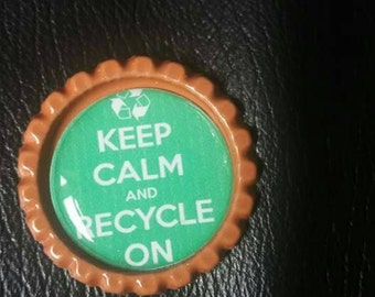 Keep calm and recycle on themed bottlecap needle minders  magnet
