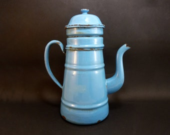 Blue enameled coffee pot, french vintage 30s, outdoor indoor blue decor, enamelware, kitchenware, flower pot vase pot