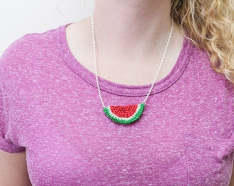 Crochet Watermelon Necklace