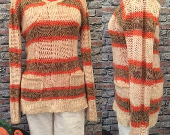 Vintage Striped V-Neck Tunic Sweater In Autumn Colors  Women's Size Medium