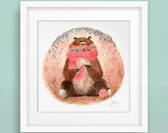 Knitting Bear with Birds - Fine Art Print