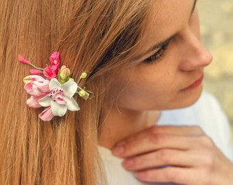 Flower Brooch Fuchsia rose White orchid flowers hair clip  bright accessories tropical flowers Exotic accessories