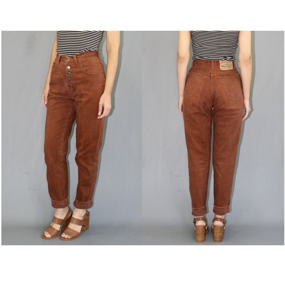 brown high waisted jeans - Jean Yu Beauty