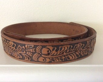 FREE SHIPPING, Vintage, Hand Tooled, Leather, Belt, Acorn and Oak Leaf