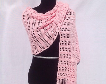 Open Stripes Shawl or a Scarf in Pink