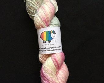 hand dyed superwash merino/nylon sock yarn- special day