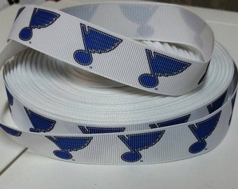 St. Louis Blues 7/8 inch Grosgrain Ribbon White/Blue