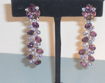 Elegantes (145) earrings amethysts simulated, signed pin, to 1950