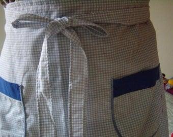 Great retro, enveloping apron, oversized, upcycled, Vintage French,