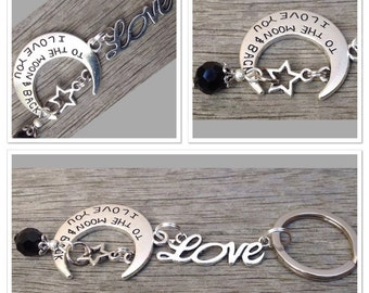 Vintage Style Antique Alloy Metal I Love You To The Moon And Back  Keyring Keychain