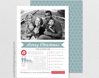 Year in Review Infographic Card, Christmas Card, Holiday Card, New Year's Card, Photo Card, Digital Design, Holiday Card #4