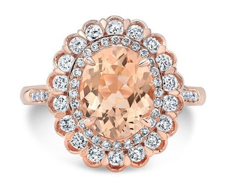 3.45 Ct. Oval Morganite Diamond Halo Engagement Ring on 14K Rose Gold