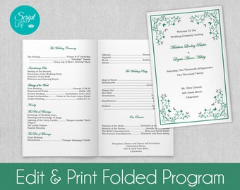 Lace Wedding Program Template Double Sided Free By