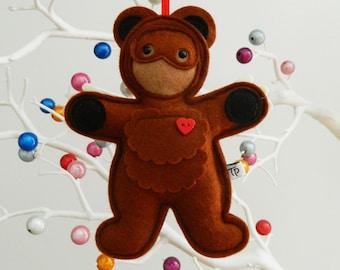 Feltibobs - Bear hanging ornament. Handmade felt teddy bear. Door hanger, baby gift, pram hanger, nursery decor.