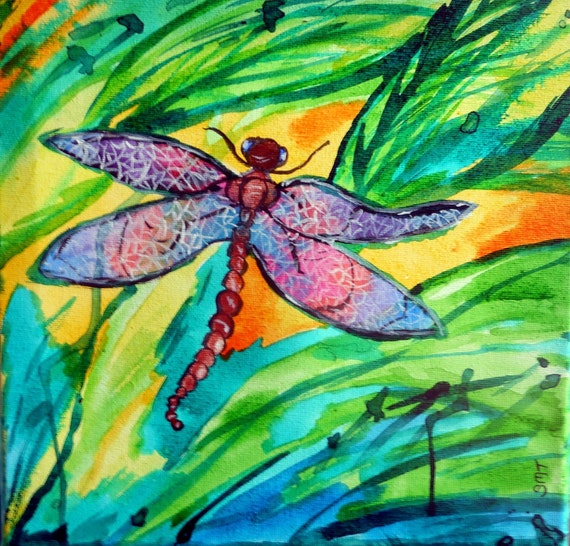 "DRAGONFLY - India Ink on 10 x 10"" Canvas. Naive Outsider Folk Art African American Folk Artist Stacey Torres"